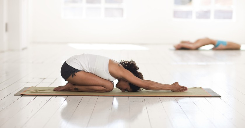 Balasana, or child's pose, releases tension in the chest, back and shoulders