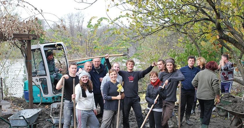 A happy group of volunteers