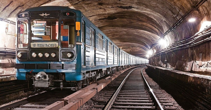 A Moscow metro train in a tunnel