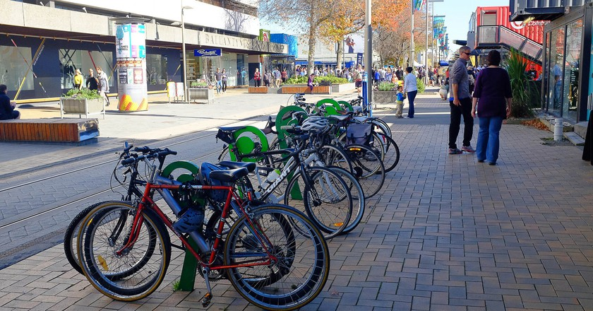 Bicycles parked in central Christchurch