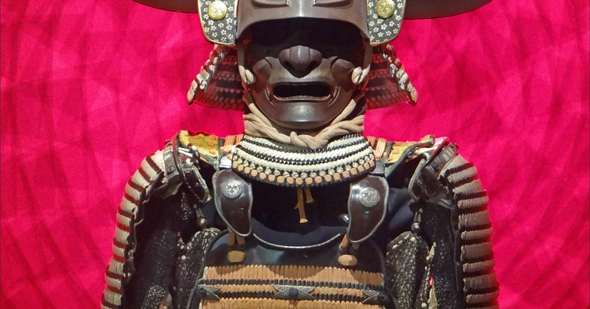 Samurai armour on display in the Château des Ducs de Bretagne, Nantes