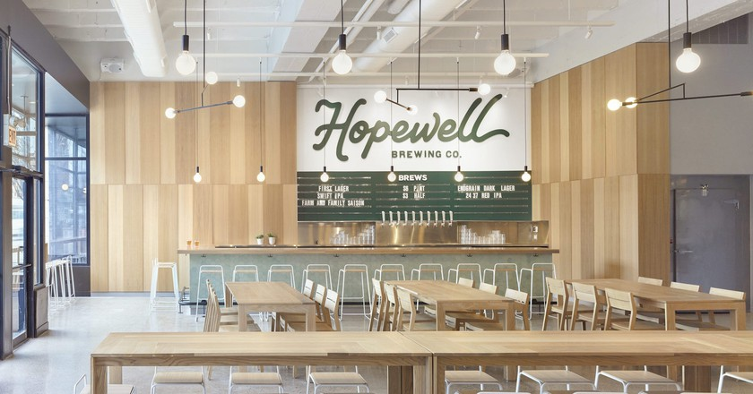 Hopewell Brewing in Logan Square offers a bright, cheerful vibe with delicious craft beers.