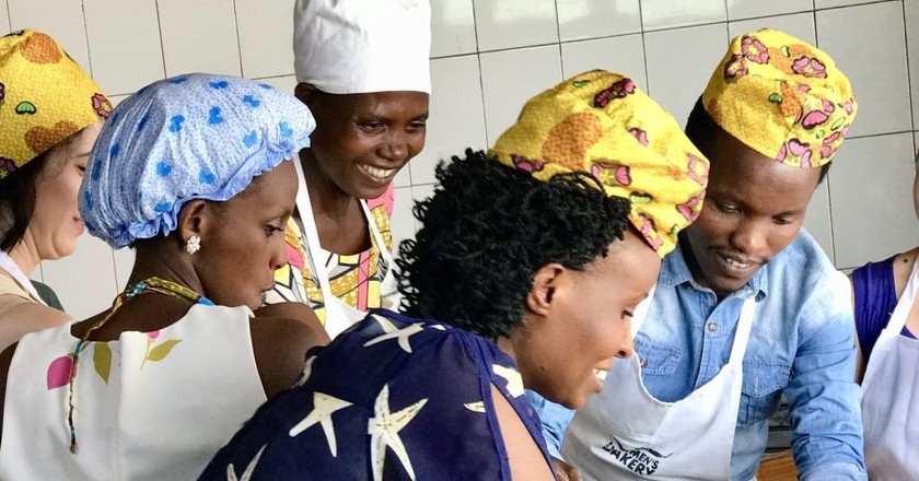 Bread production practical during Bakery Operations Manager Training in Kigali