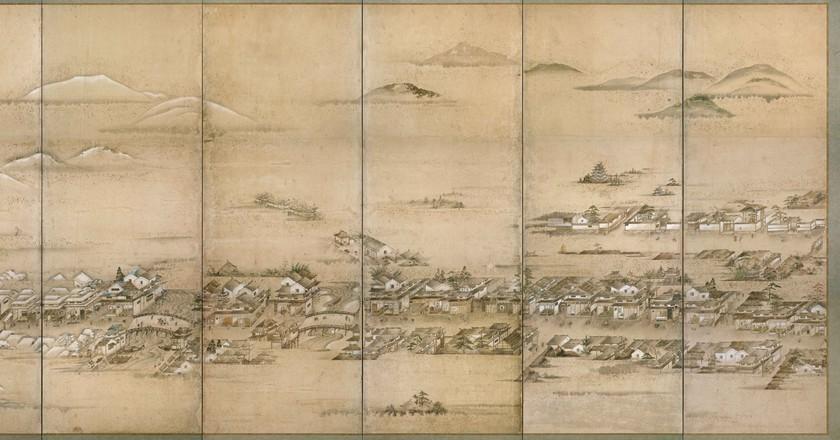 Folding screen detail of Hiroshima Castle Town, c. 1805 [artist unknown] | Hiroshima City Library / Public Domain