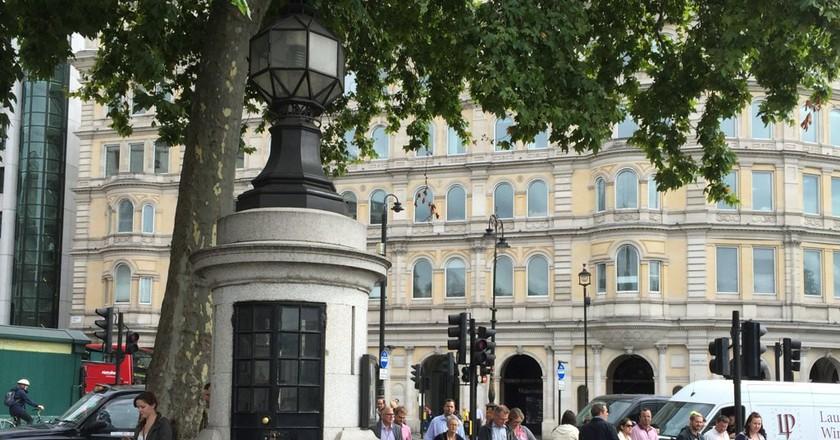 Police box in Trafalgar Square