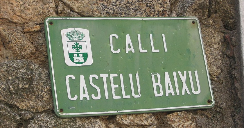 A street sign in Eljas, one of the three villages where 'a fala' is spoken.