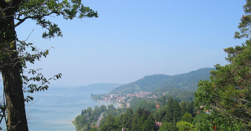 The view of Lake Constance in the summer from a hiking trail