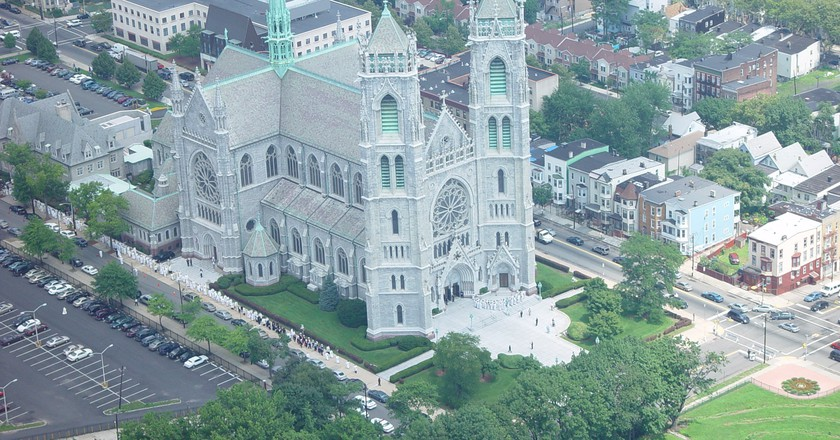 Aerial view of the Cathedral Basilica of the Sacred Heart in Newark, NJ.