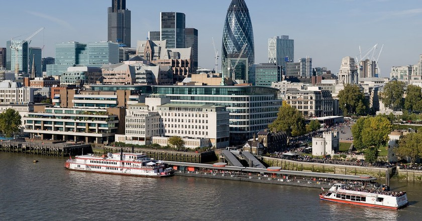 The City of London is on the River Thames and has plenty of historic architecture