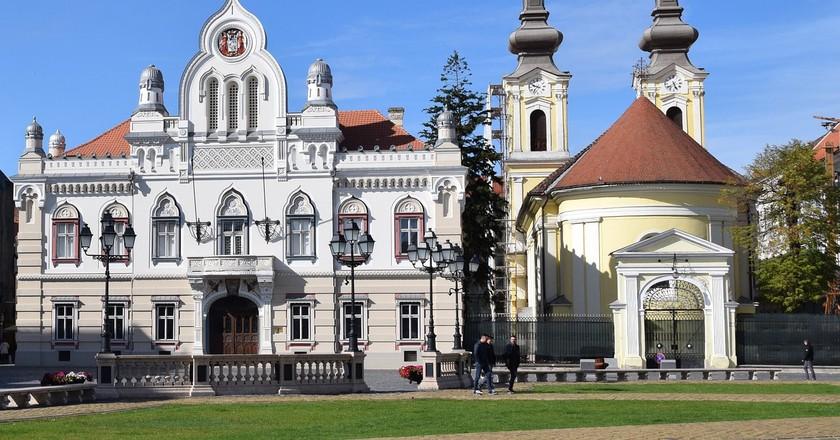 Impressive architecture in Habsburg-era square Piața Unirii