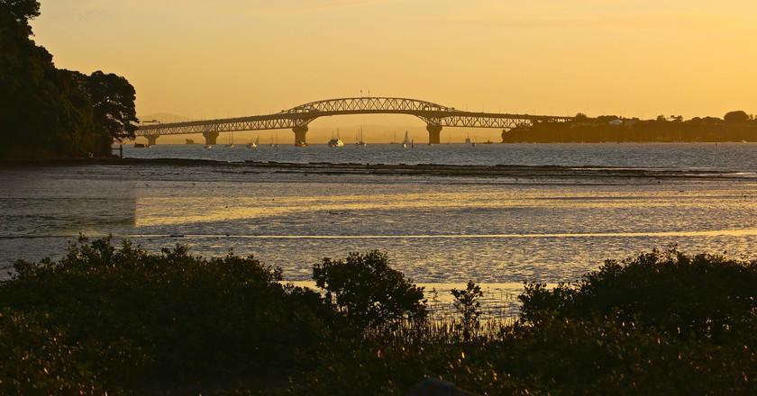 Sunset over Auckland Harbour Bridge