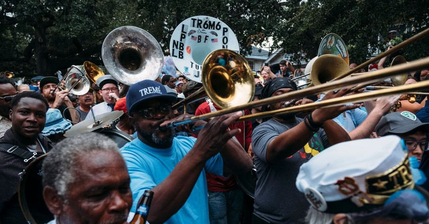 Second line parade for musician Fats Domino's funeral