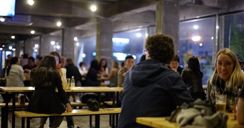 Happy drinkers at Gorilla Brewing taproom, Gwangan, Busan