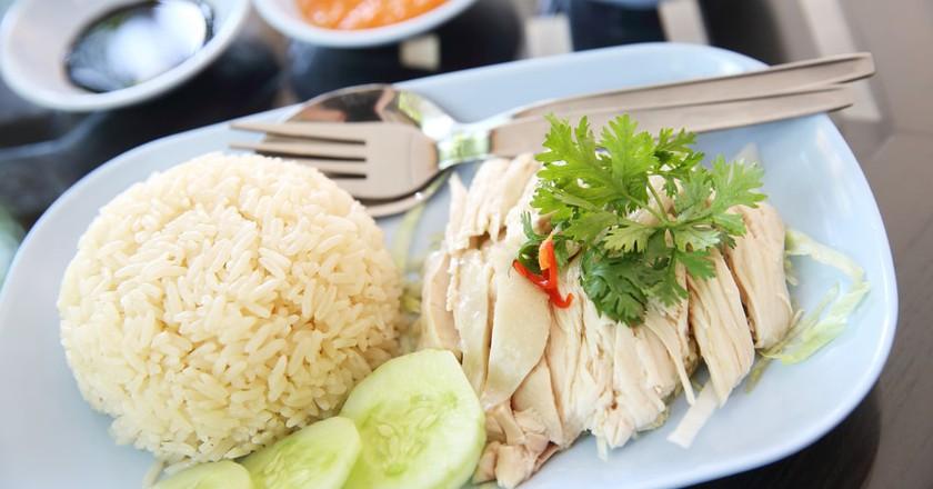 Hainanese chicken rice - a Singaporean hawker stall classic