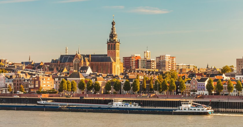Nijmegen above the Waal river