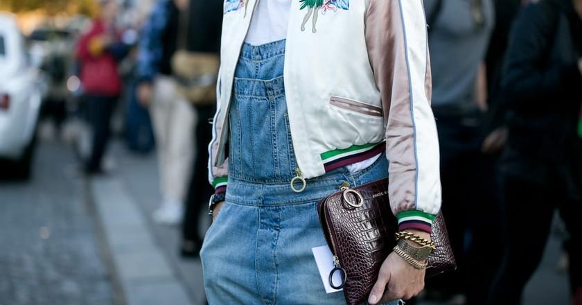 Street style model with Paule Ka handbag