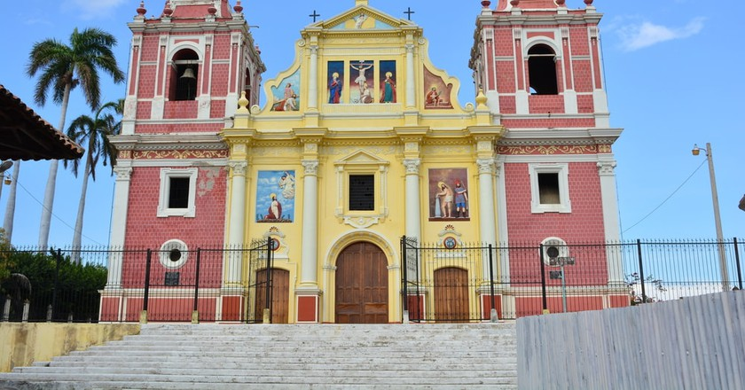 Colonial Calvario church in the historical city of Leon, Nicaragua
