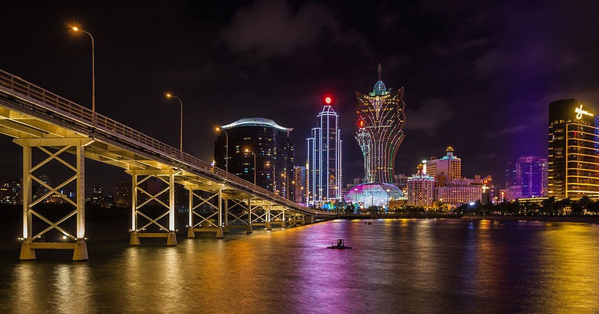 Macau's casino strip at night