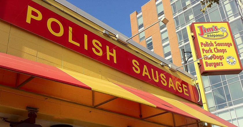 Jim's Original has been serving up Polish sausage sandwiches since 1939.