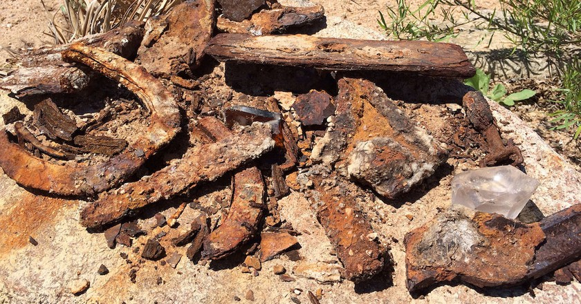 Horseshoes and other rusted tools in Old Bluffton