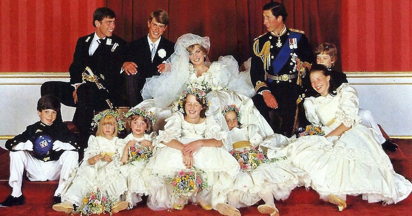 Princes Charles and Lady Diana having their wedding portrait