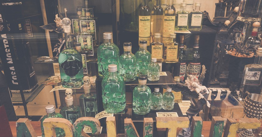 A selection of absinthe bottles