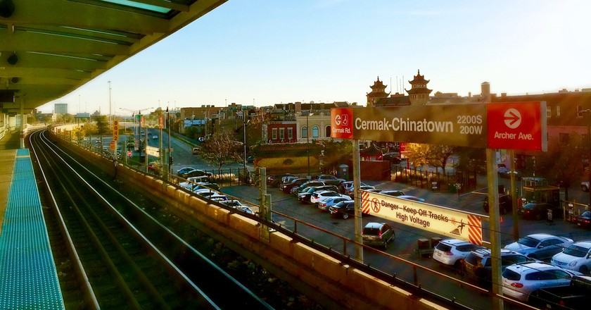 The Cermack-Chinatown stop on Chicago's Red Line train
