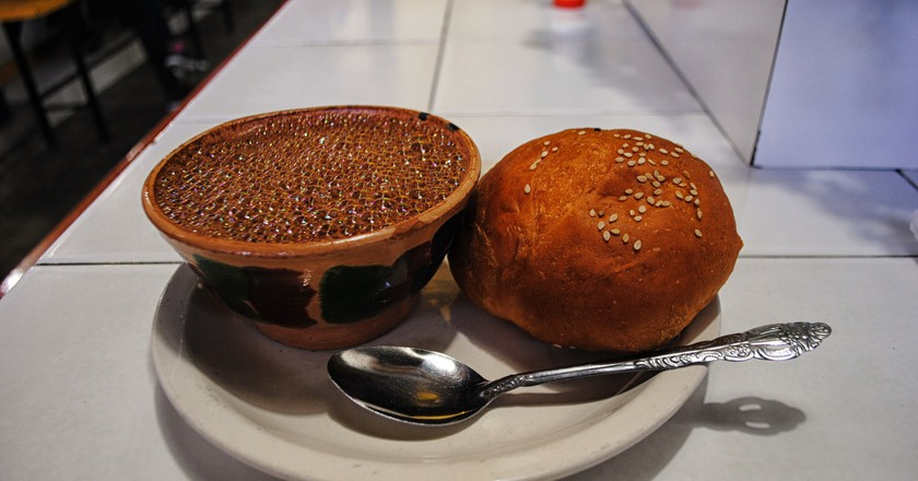 Pan de yema and hot chocolate