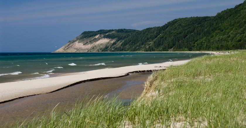 The sand dunes of Sleeping Bear viewed from Esch Road Beach