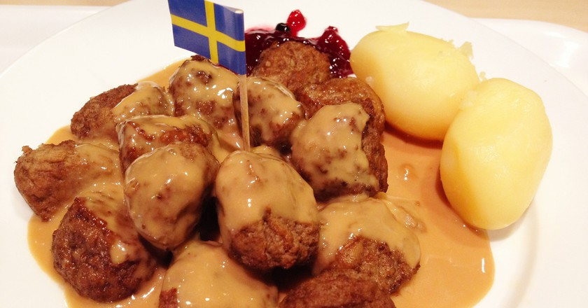 A plate of traditional Swedish meatballs