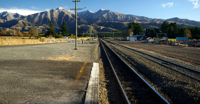 The Southern Alps as seen from the Springfield station in Canterbury, New Zealand