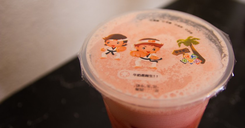 Strawberry Green Tea with Boba