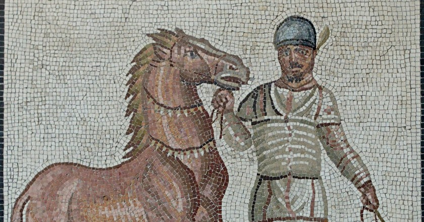 A mosaic from the 3rd century AD depicting a charioteer