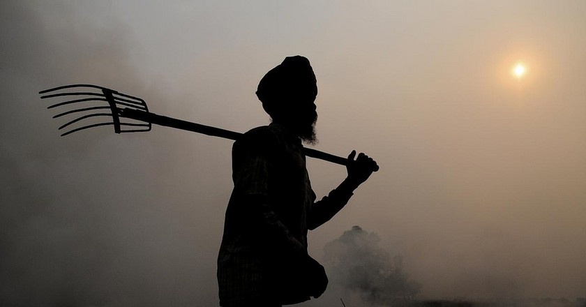 Burning of rice residues after harvest, in Punjab, India