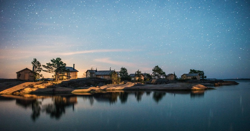 A starry night sky on the Finnish archipelago.