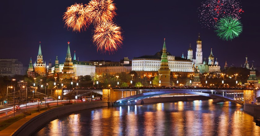 Fireworks over the Kremlin in Moscow, Russia