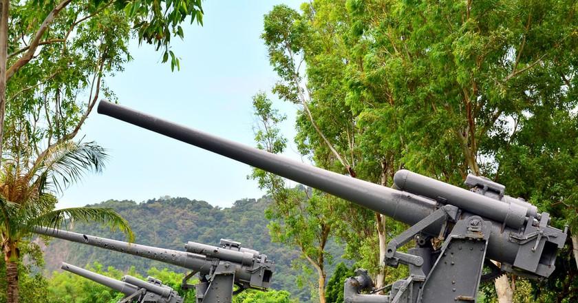Japanese Garden of peace anti-aircraft cannon in Corregidor Island, Cavite, Philippines