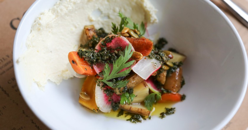 A delicious farm-to-table meal at Colonie