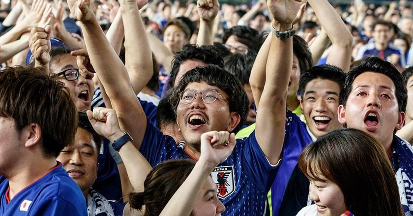 World Cup viewing party at Tokyo Dome, Japan - 19 Jun 2018
