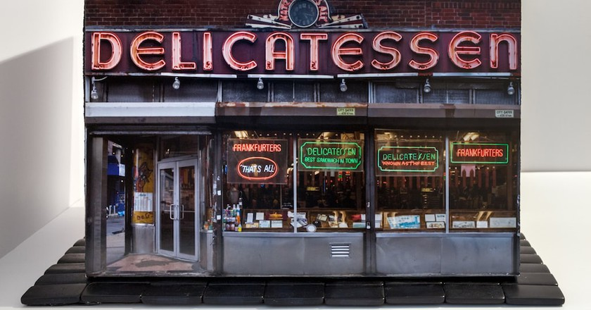 Model of the delicatessen facade of 'Mom-and-Pops of the LES'