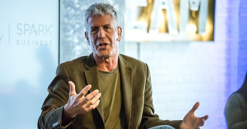 Anthony Bourdain talks at a SXSW event in Austin, Texas