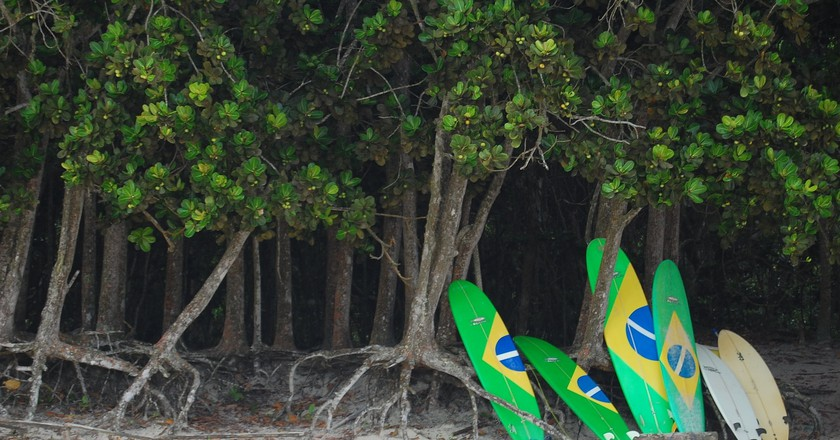 Surfing on the Brazilian coast