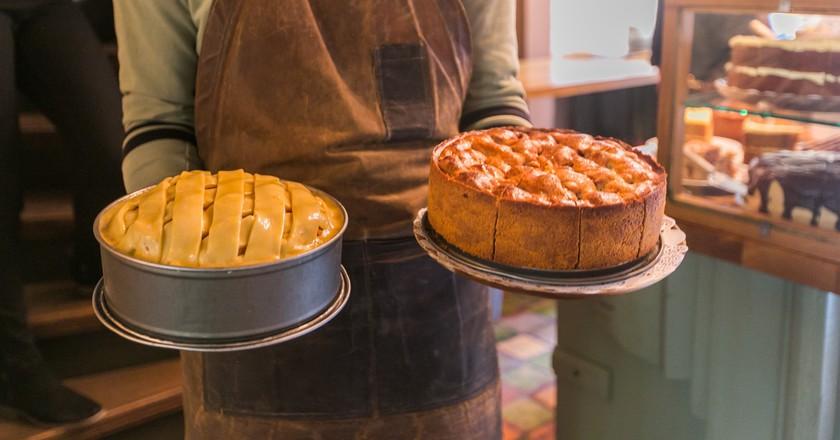 Two of De Koffieschenkerij's homemade apple pies