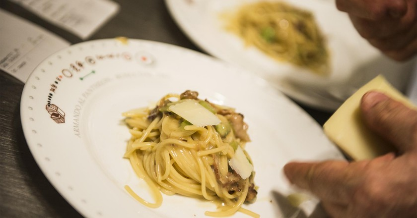 Enjoy a selection of traditional pasta dishes at Armando al Pantheon
