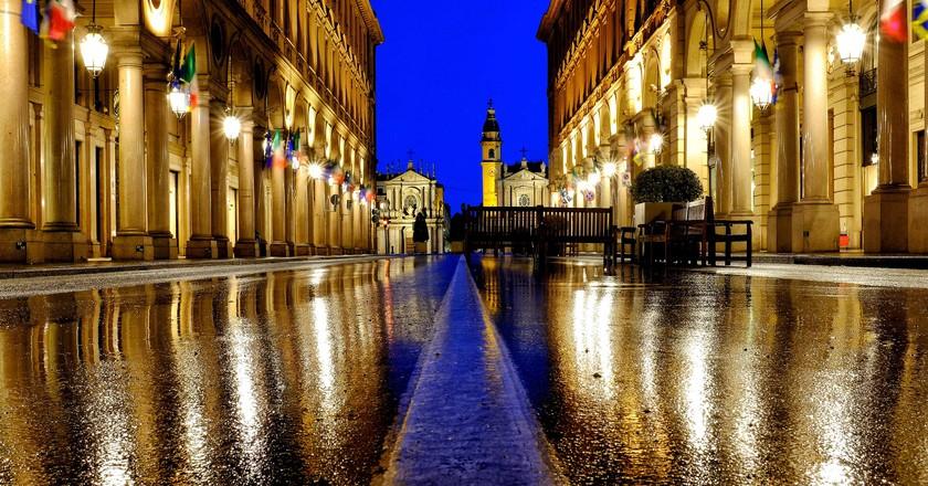 Turin's famous Via Roma in the rain