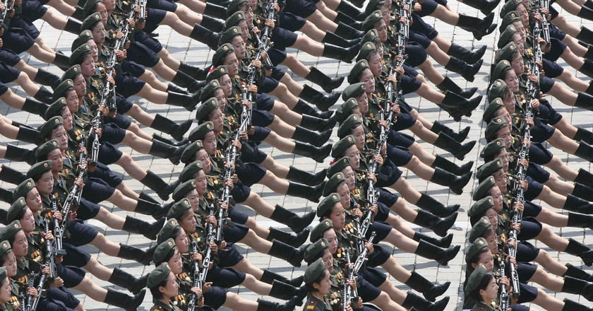 Soldiers march at a military parade in Pyongyang, the Democratic People's Republic of Korea
