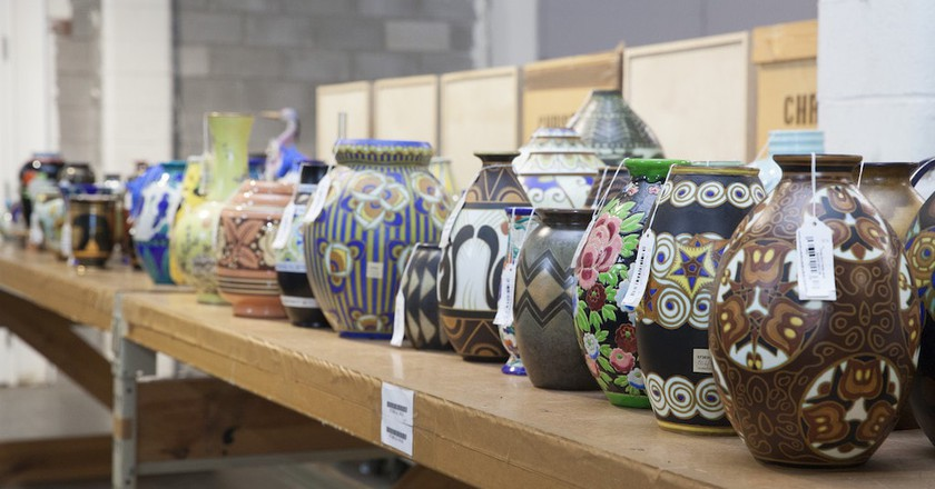 Rows of ceramic pots in Christie's Redstone warehouse