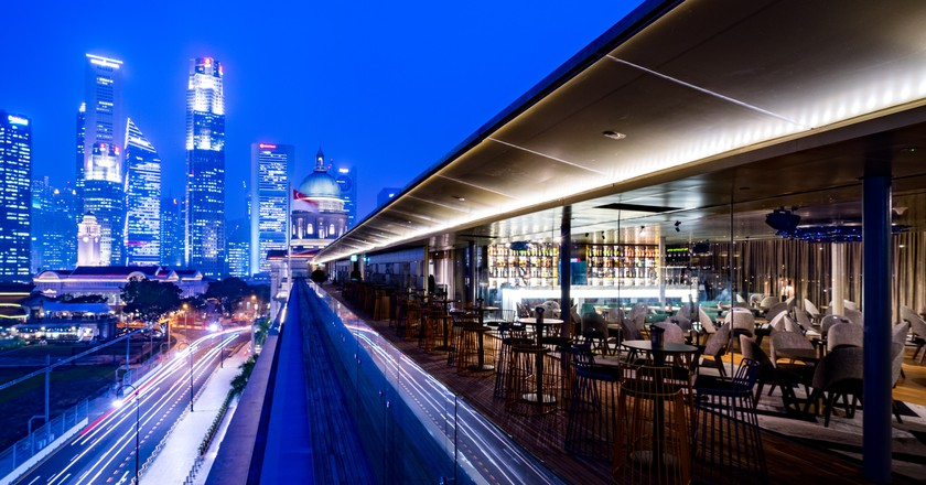 Aura Sky Lounge boasts an amazing view of the Singapore skyline