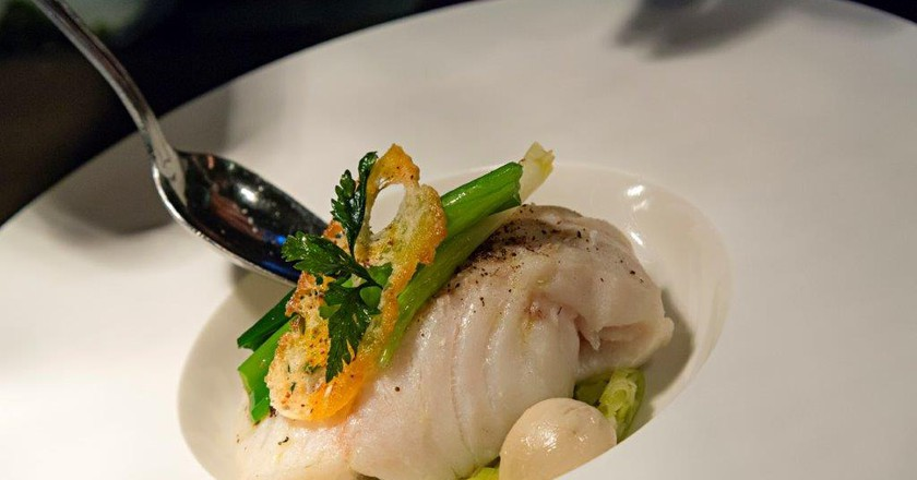 Fresh-caught cabillaud (cod) from L'Agape, one of the best restaurants in Avignon