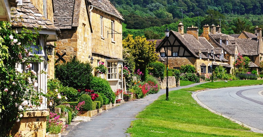 Cottages Along High Street Broadway Cotswolds